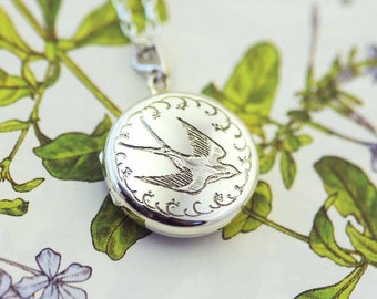 Silver Swallow Locket, engraved locket, keepsake, swallow jewellery, Uk maker