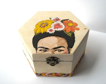 Frida Kahlo jewelry wooden box, hand painted floral jewelry case, Frida jewelry box