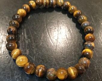 Tigers Eye - Tiger Eye Bracelet - 6mm Healing Crystal Bracelet - Tigers Eye Jewelry - Protection Bracelet - Tiger Eye elastic bracelet