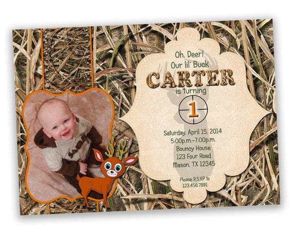 Photo Camo Invitation Camouflage First Birthday Invitations – Hunting Party Invitations