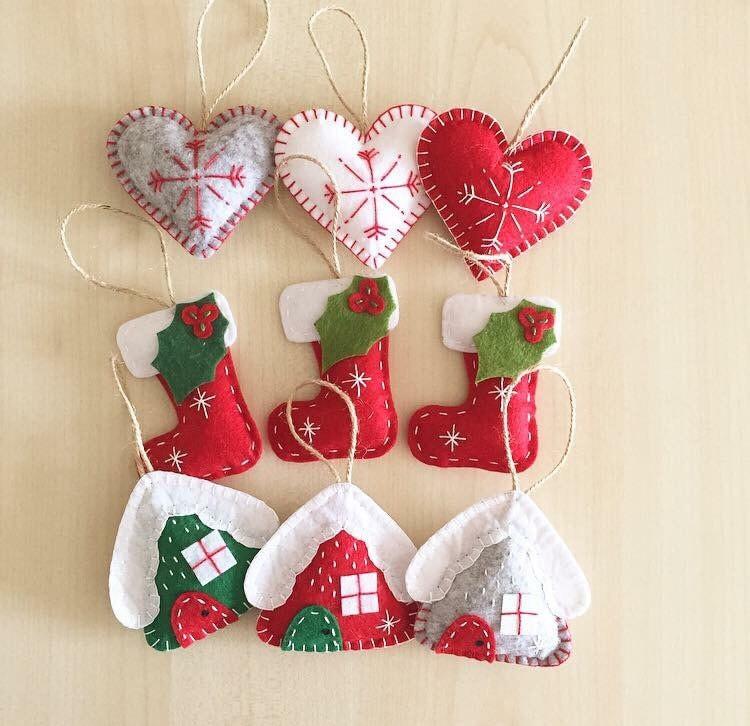 Christmas Ornaments Set 9 Handmade Felt Ornaments New Year
