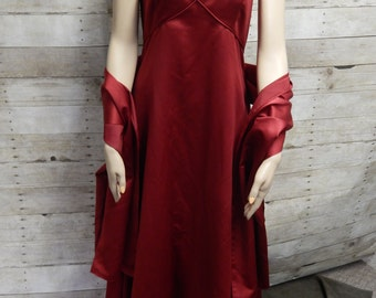 Gorgeous Red Satin 80s Halter Gown - Size 6