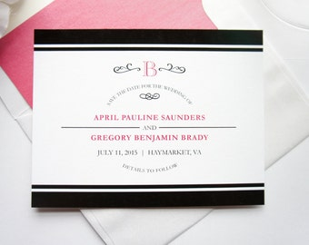 Pink and Black Save the Date - Modern Save the Date, Monogram Save the Date, Pink Save the Date, Modern Save the Dates - DEPOSIT