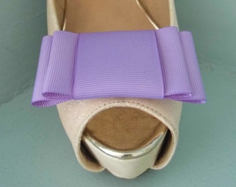 Handmade Large Lilac Bow Shoe Clips - other colours on request