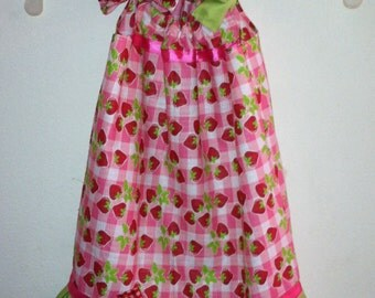 Strawberry Pillowcase Dress with matching Bow
