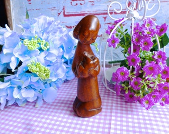 Vintage mother and Son wooden sculpture / Wooden penis figurine / Penis wooden sculpture / Mother and Son sculpture