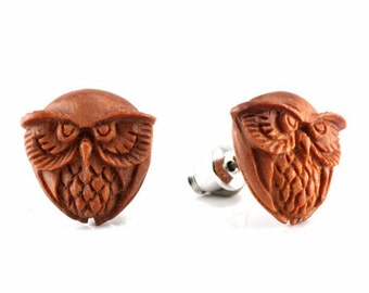 "Hand Carved - ""Burrowing Owl"" - Sabo Wood with Ebony Wood Inlay - Stud Earring - Wisdom of Owls"