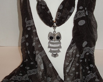 Brown Scarf with Owl Pendant