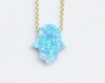 Opal Hamsa Necklace on a gold plated .925 sterling silver chain • Waterproof • Small or Large Size • Cute Opal Necklace Gift to Give or Keep