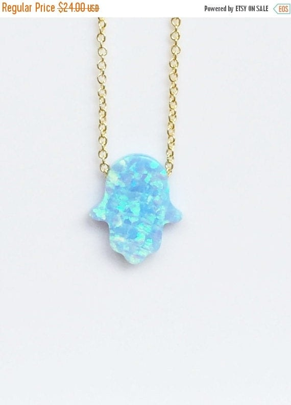 opal hamsa necklace gold link chain