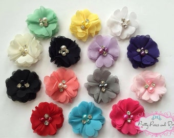 Pearl Flower Hair Clips, Pearl Flower Headband, Chiffon Flower Hair Clip, Chiffon Flower Headband, Pink Flower Clip, Coral Flower Clip