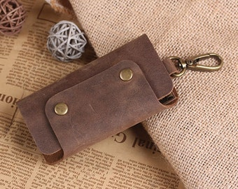 Hand Crafted Leather Key Holder - Leather Key Case - Vintage Leather Keychain Holds - Convenient Key Holder