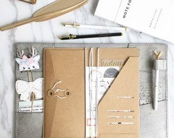 New Kraft envelop pocket + Flip Pocket for Pelle Leather Journal,  Travelers notebook Accessories