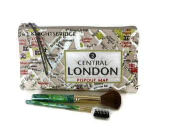 London map pencil case, Makeup bag, School supplies, teacher gift, make up case, pencil pouch, map pouch, England, back to school