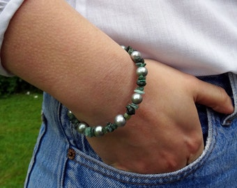 Rough Emerald & Pearl cuff bracelet - Emerald bracelet - raw gemstone bracelet - Emerald bangle - genuine Emerald bracelet - May birthstone