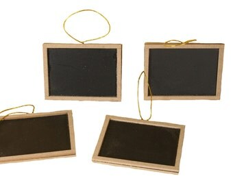 Set of 4 Hanging Chalkboard Rectangular Wood Tags Signs