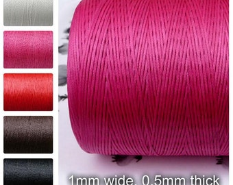 Waxed Polyester Cord,  1x0.5mm, brown, BLACK, red, white, pink,  10 meters, flat
