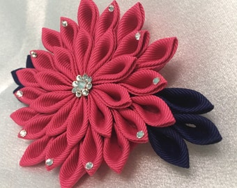Dark Pink and Navy Kanzashi Style French Barrette