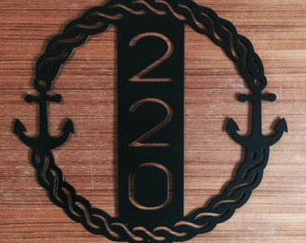 Metal Nautical Anchor House Number Wreath