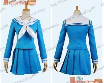 Gourmet Girl Graffiti Kirin Morino cosplay costume japanese unfirom blue