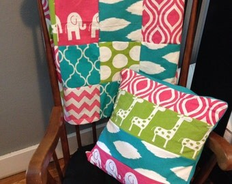Patchwork Baby Blanket in hot pink, lime green and turquoise with giraffes, elephants, polka dots, and chevron prints, Minky backed