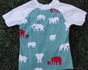 100% Organic Cotton Raw-Edged Elephants Raglan Size 2/3