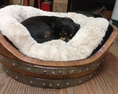 Wine Barrel Dog Bed for dogs up to 50 Pounds