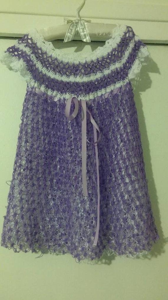 Purple and white crocheted baby girl dress