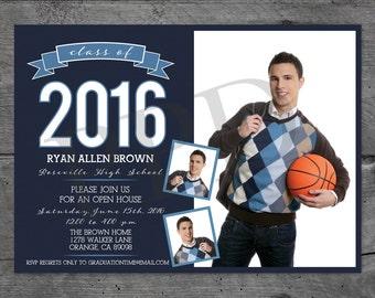 High School Graduation Photo Card, Boy Grad Card, Senior Announcement, High School Graduation Announcements, Grad Card, Celebration Card