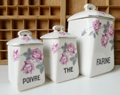 Vintage French Ceramic Canister Porcelain Mid Century Flowers Roses Art Deco