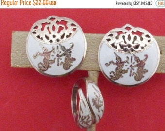 On Sale Siam Sterling white niello earrings and bypass ring AA880