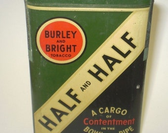 Burley and Bright Half and Half Pipe Tobacco Tin ~ Unopened