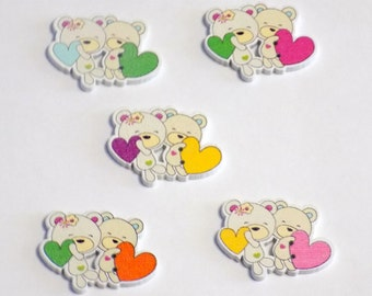 5 Wooden Teddy Bears Buttons - #SB-00192