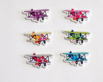 6 Wooden  Air plane buttons - #SB-00190
