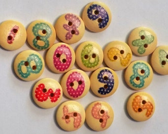 17 Wooden  Number Buttons - #WS-00073