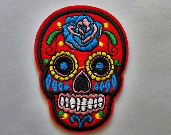 Red Embroidered Sugar Skull Patch - Iron or Sew On Applique / Sew on Patch   - #SP-00010