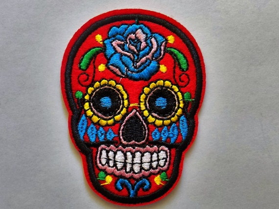 Red Embroidered Sugar Skull Patch Iron or Sew On Applique