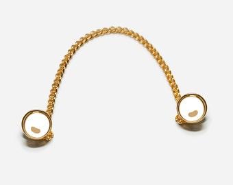 White Button pins, 3-Way Collar Pin
