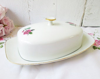 Vintage porcelain butterdish, butter dish with lid.