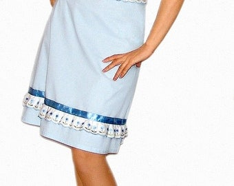 Cotton - linen dress in baby blue
