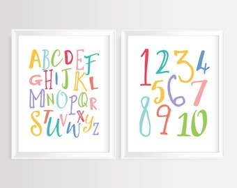 """Nursery Alphabet & Numbers- ABC and 123 printable wall art- Alphabet Art, Kids Room, Alphabet poster,  set of 2- 8x10""""- Instant Download"""