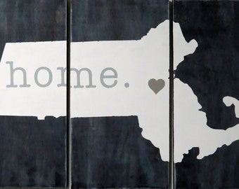 HOME is Where the Heart Is Massachusetts Wall Decor 36 inch by 24 inch