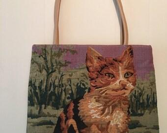 Fun Cat Purse. Tapastry. Tote bag