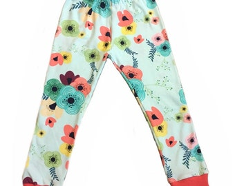 Aqua Floral Leggings, Floral Burst Leggings