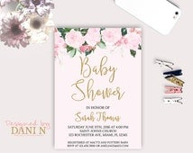 Roses baby shower Invite, Floral Invitation, Elegant Pink invitation, printable, Its a Girl Party invite, Gold Glitter Roses Invitation