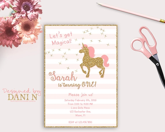Unicorn birthday invitation glitter birthday invite pink and gold il570xn filmwisefo