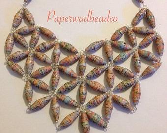 Paper Bead Jewelry, Pastel Paper Bead Bib Necklace, Paper Bead Bib, Statement Jewelry, Statement Bib Necklace, Paperbead Jewelry