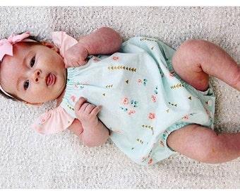 Pastel Mint, Peach & Gold Rosemilk Baby Playsuit / Onesie / Romper