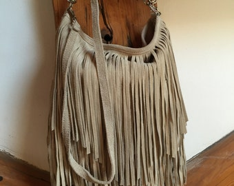 Suede fringed bag made in Italy