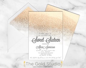 White and Gold Sweet 16 Sixteen Invitation. Elegant gold Glitter modern glamorous birthday party invite